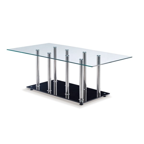 Global Furniture Clear/Chrome/Black Glass/Metal Coffee Table
