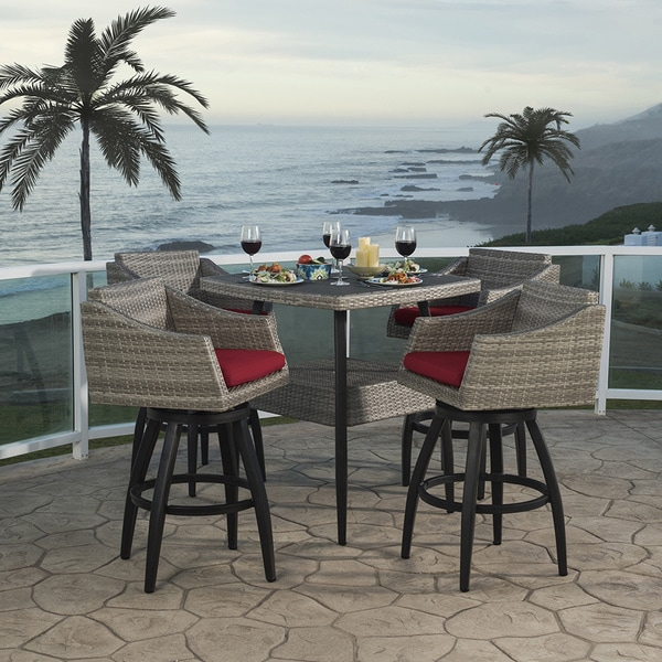 Cannes 5pc Barstool Set in Sunset Red by RST Brands