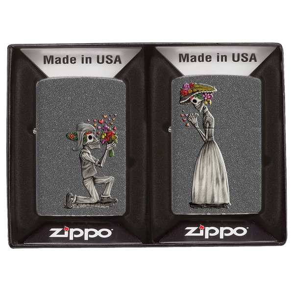 Zippo Sugar Skull Couple Windproof Lighter Gift Set