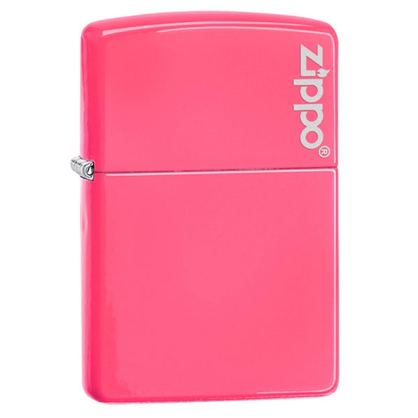 Zippo Neon Pink Logo Windproof Lighter