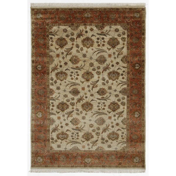 Hand Knotted Light Ivory/Raw Sienna Classic Pattern Rug (6' X 9')