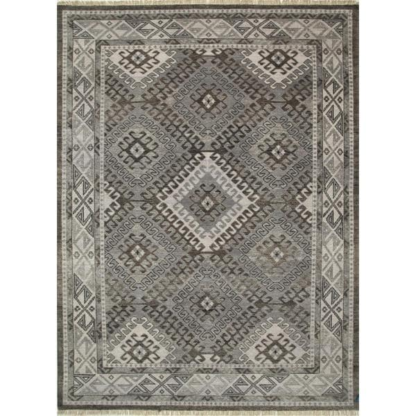 Hand Knotted Liquorice/Classic Gray Traditional Tribal Pattern Rug (5'6 X 8')