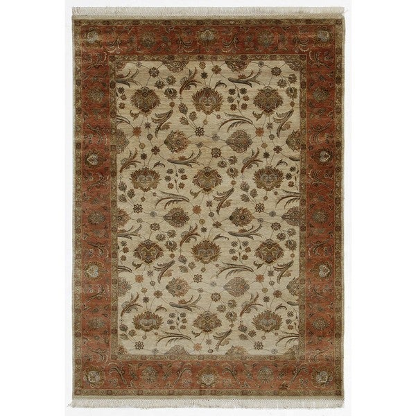 Hand Knotted Light Ivory/Raw Sienna Classic Pattern Rug (8' X 10')