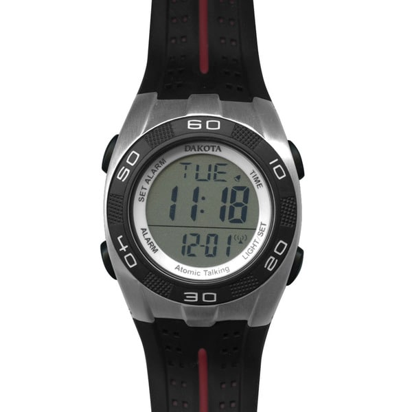 Dakota Black Rubber/Stainless Steel/Plastic Talking Digital Atomic Watch