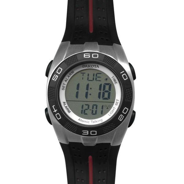 Dakota Black Rubber/Stainless Steel/Plastic Talking Digital Atomic Watch