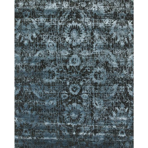 Hand Knotted Black Ink/Cadet Blue Contemporary Pattern Rug (8' X 10')