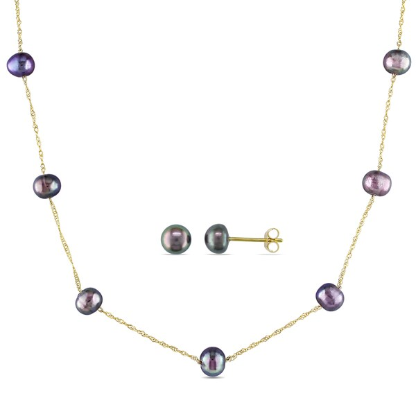 Miadora 10k Yellow Gold Black Freshwater Cultured Pearl Tin Cup Station Necklace and Stud Earrings Set 21767911