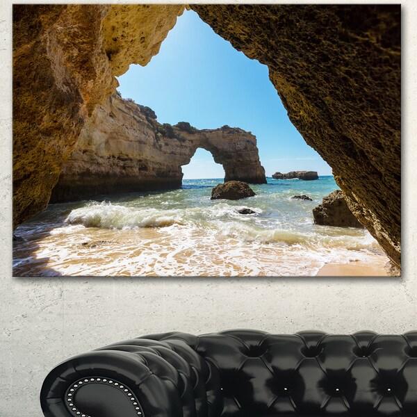 Designart 'Portugal Coast with Amazing Caves' Oversized Landscape Canvas Art