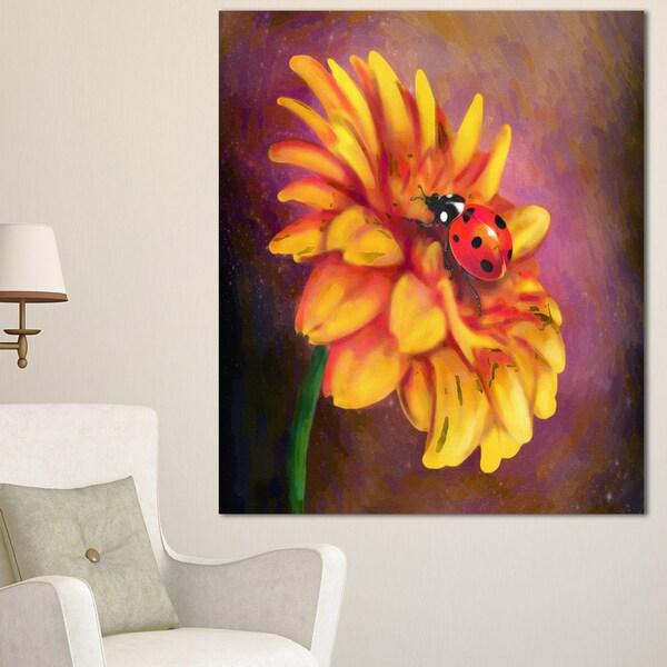 Designart 'Gerber and Ladybird Watercolor' Extra Large Floral Canvas Art
