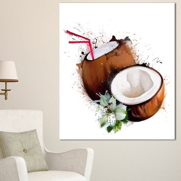 Designart 'Coconuts with Straw Watercolor' Extra Large Floral Canvas Art 21768725