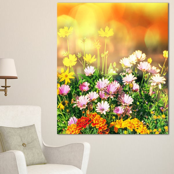 Designart 'Lovely Multi-Color Little Flowers' Floral Wall Artwork on Canvas