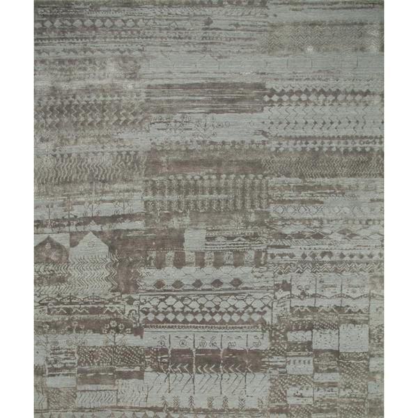 Hand Knotted Pearl Blue/Shale Contemporary Pattern Rug (8' X 10')