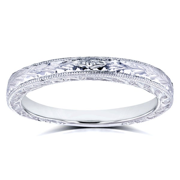 Annello 14k White Gold Antique Engravings Womens Wedding Band