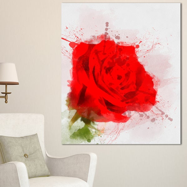Designart 'Bright Red Watercolor Rose Sketch' Floral Canvas Artwork Print