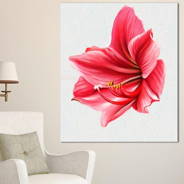 Designart 'Big Red Flower Sketch on White' Large Floral Canvas Artwork