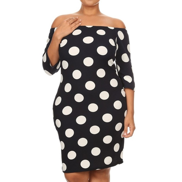 Women's Polyester Plus-size Polka-dot Bodycon Dress
