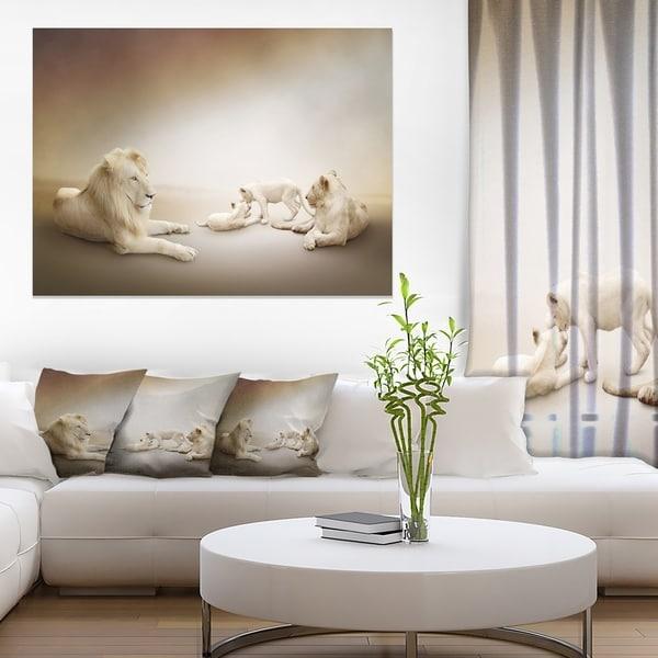 Designart 'White Lion Family ' Large Animal Art on Canvas 21772843