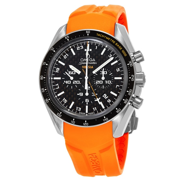 Omega Men's 321.92.44.52.01.003 'SpeedmasterHBSIA' Black Dial Orange Rubber Strap GMT Chronograph Swiss Automatic