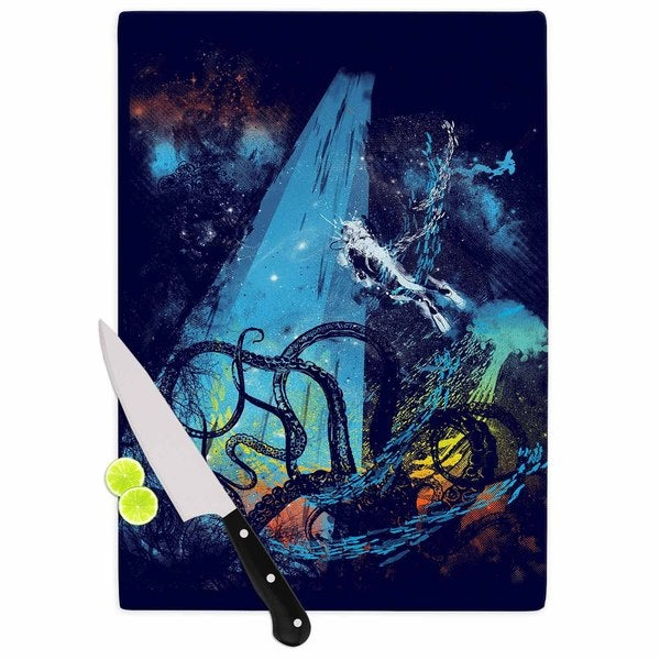 KESS InHouse Frederic Levy-Hadida 'Danger from the Deep' Blue Underwater Cutting Board