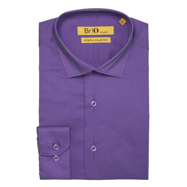 Brio Milano Mens Long Sleeve Solid Purple Dress Shirt