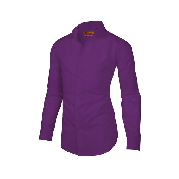 Brio Milano Mens Long Sleeve Solid Purple Dress Shirt