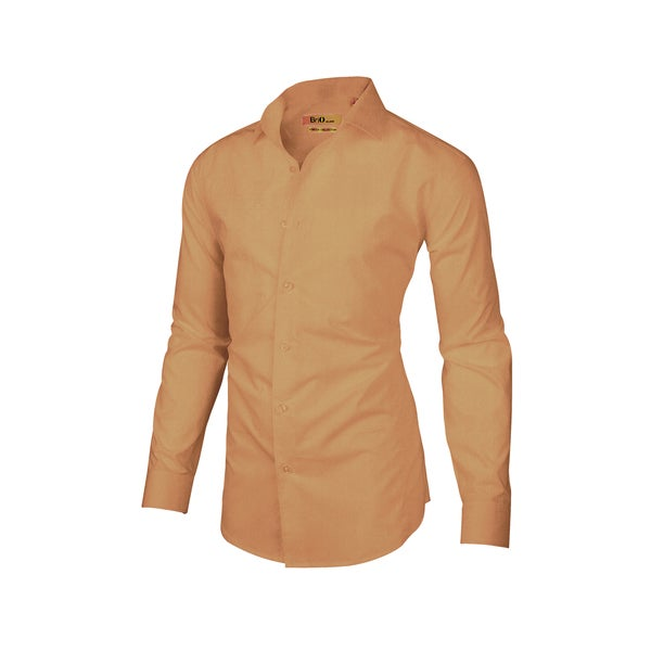 Brio Milano Mens Long Sleeve Solid Khaki Dress Shirt