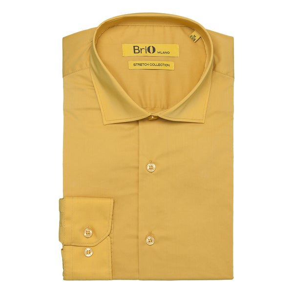 Brio Milano Mens Long Sleeve Solid Mustard Dress Shirt