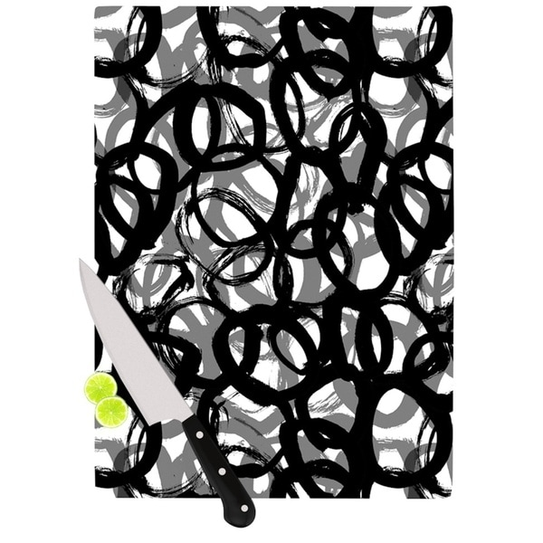 Kess InHouse Emine Ortega 'Rhythm' Black and Grey Glass Cutting Board