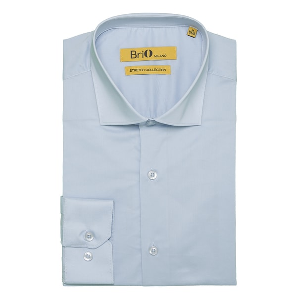 Brio Milano Mens Long Sleeve Solid Light Bue Dress Shirt