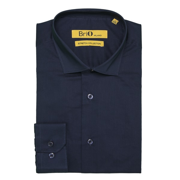 Brio Milano Mens Long Sleeve Solid Navy Dress Shirt