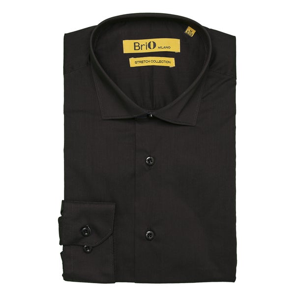 Brio Milano Mens Long Sleeve Solid Black Dress Shirt