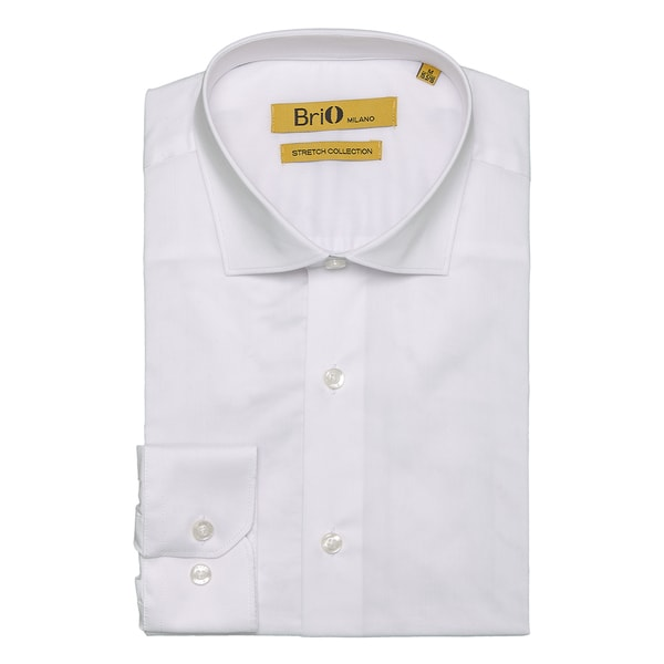 Brio Milano Mens Long Sleeve Solid White Dress Shirt