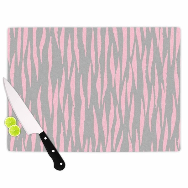 Kess InHouse Wildlife 'Pink Animal Print 12' Grey Painting Tempered Glass Cutting Board