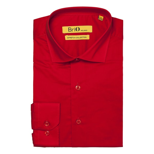 Brio Milano Mens Long Sleeve Solid Red Dress Shirt