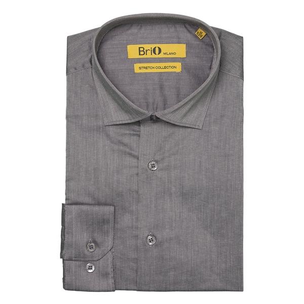 Brio Milano Mens Long Sleeve Solid Grey Dress Shirt