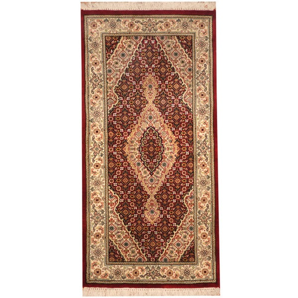 Herat Oriental Indo Hand-knotted Tabriz Wool & Silk Rug (2'3 x 4'7) - 2'3 x 4'7 21777615