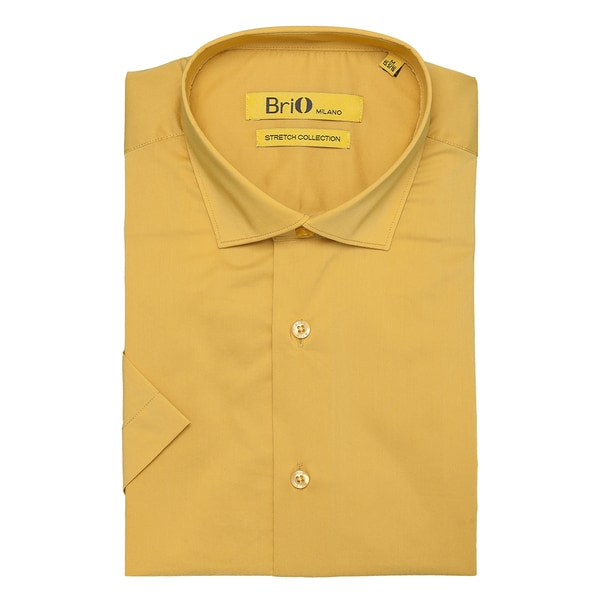 Brio Milano Mens Short Sleeve Yellow Dress Shirt