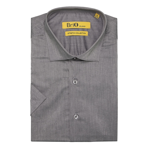Brio Milano Mens Short Sleeve Solid Grey Dress Shirt