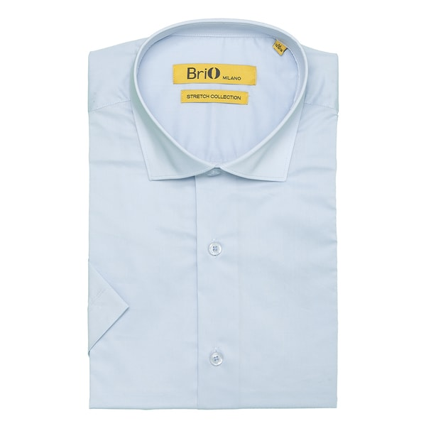 Brio Milano Mens Short Sleeve Solid Light Blue Dress Shirt