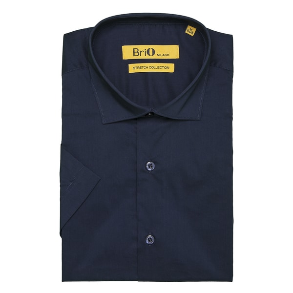 Brio Milano Mens Short Sleeve Solid Navy Dress Shirt