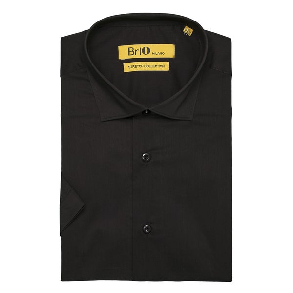 Brio Milano Mens Short Sleeve Solid Black Dress Shirt