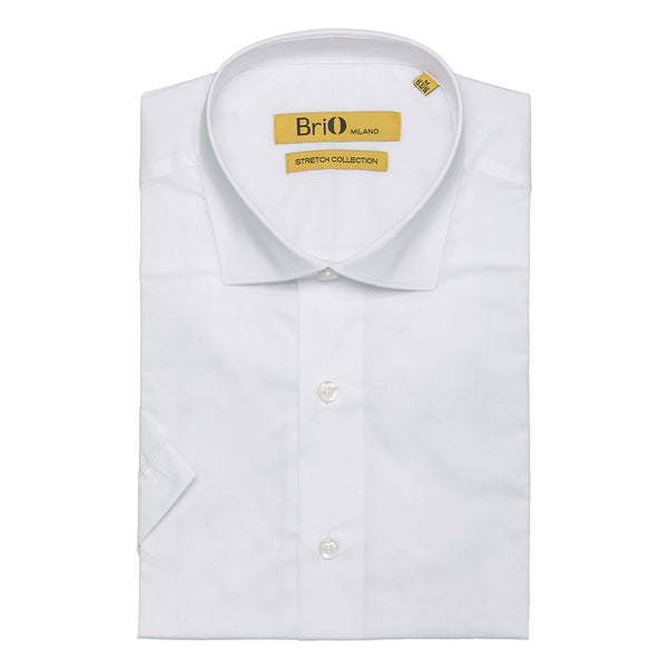 Brio Milano Mens Short Sleeve Solid White Dress Shirt