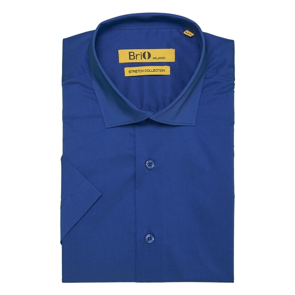Brio Milano Mens Short Sleeve Solid French Blue Dress Shirt