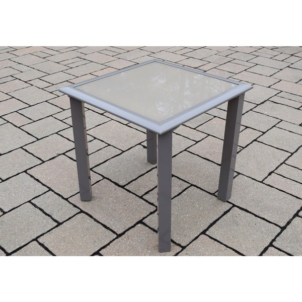 Sydney Cream-colored Aluminum/Glass/Metal 18-inch Screen-printed Side Table