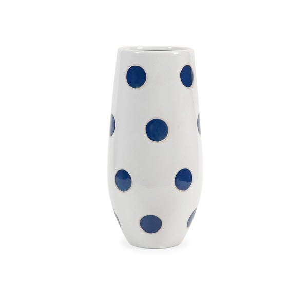Essentials Marine Blue Polka-Dot Vase