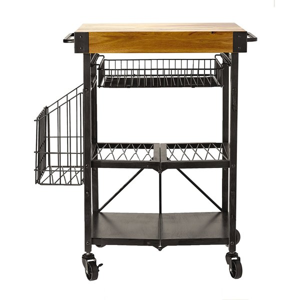 GB Artesia Metal Folding Kitchen Cart with Acacia Wood Block and Basket Storage