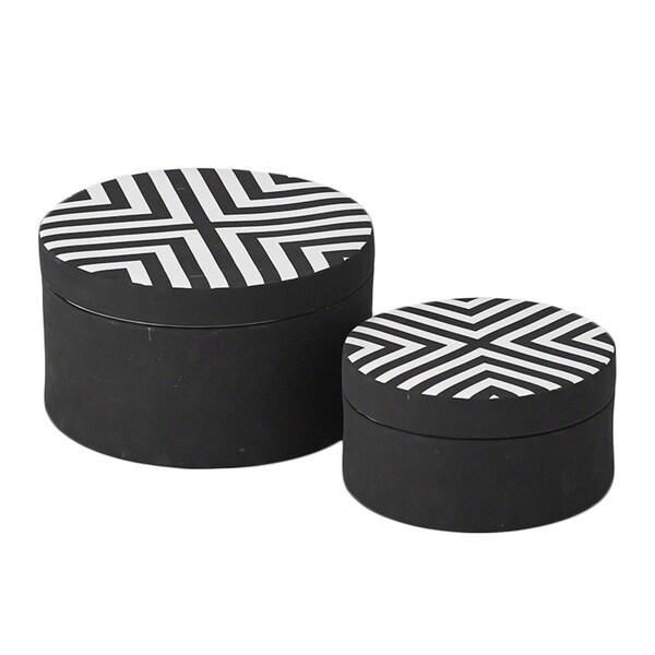Matte Black/ White Chevron Small Round Box
