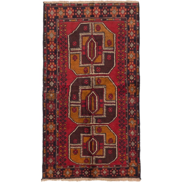 eCarpetGallery Baluch Black/Cream/Dark Brown/Light Brown/Red Wool Hand-knotted Rug (3'5 x 5'10)