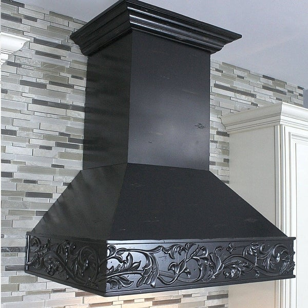 ZLINE 36 in. 1200 CFM Designer Series Wooden Wall Mount Range Hood (373AA-36) - Black 21779970