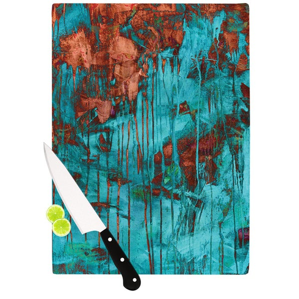 KESS InHouse Iris Lehnhardt Rusty Teal Paint Teal Cutting Board